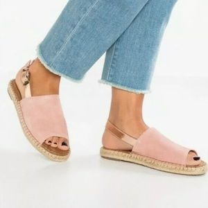 New Toms Clara Open Toe Suede Pink Espadrille 7W